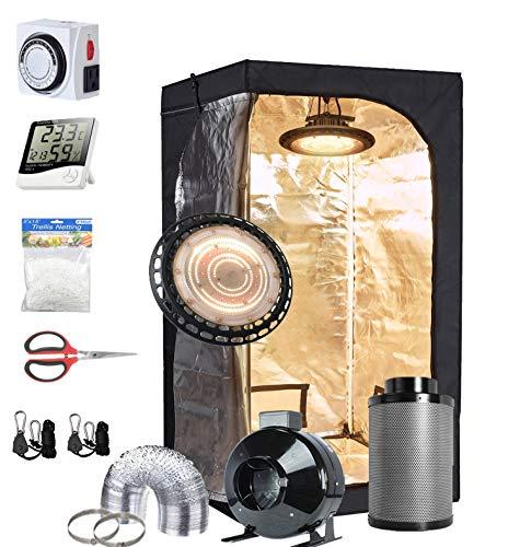 TopoGrow UFO LED 300W Grow Light Full-Spectrum +4' Fan Filter Ventilation Kit +32'X32'X63' Grow Tent +Hydroponics Indoor Plants Accessories Growing System