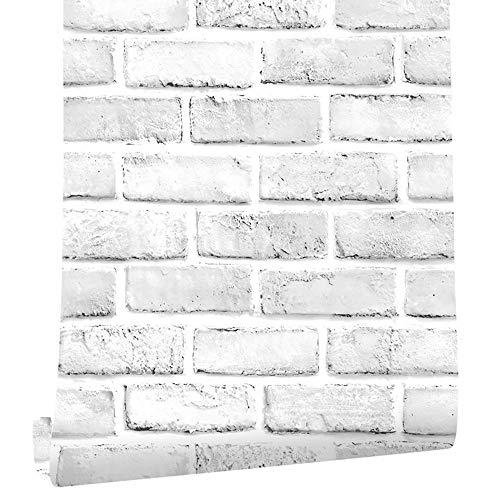 "Cohoo Home White Gray Peel and Stick Wallpaper Brick Contact Paper 118"" ×18"" Faux 3D Brick Wall Paper White Grey Self Adhesive Wallpaper Removable Wallpaper Brick Backsplash Stick and Peel Vinyl Film"