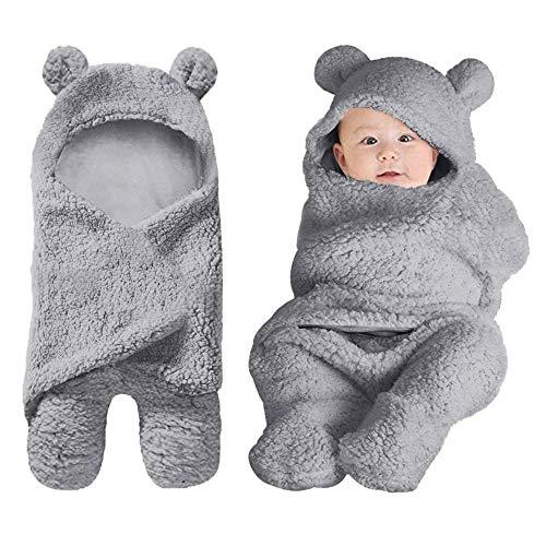 Baby Swaddle Blankets Newborn Boys Girls Clothes Unisex Winter Swaddle Blankets 0-6 M Grey