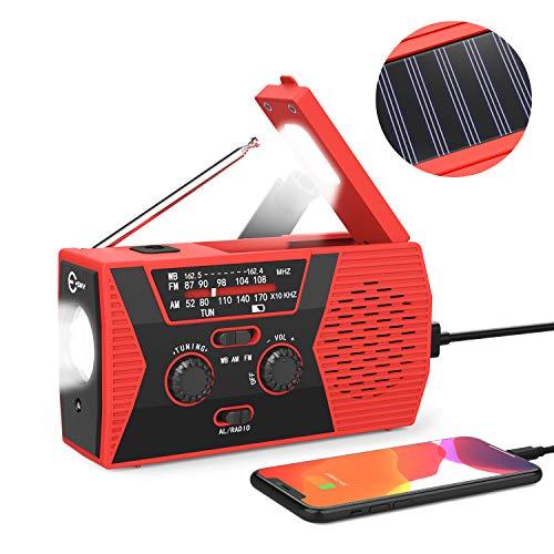 Esky Emergency Solar Hand Crank Radio, 2000mAh Power Bank NOAA Weather Radio for Emergency with AM/FM, LED Flashlight, Reading Lamp,SOS Alarm