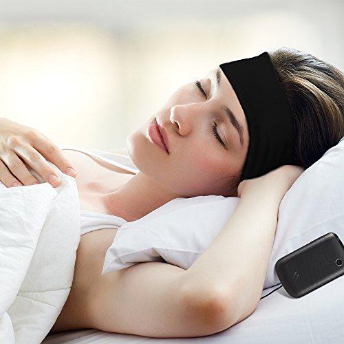 Vizpet Headphone Headband Sleep Headphones Sleep Mask Ultra Thin Earphone as Hair Bands and Headband Soft Blinder Exclude Some Noise for Sleep Air Travel Yoga Running (Black)