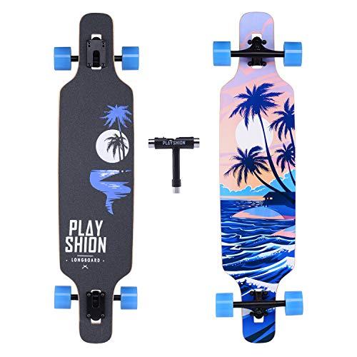 Playshion 39 Inch Drop Through Freestyle Longboard Skateboard Cruiser Coconut Tree