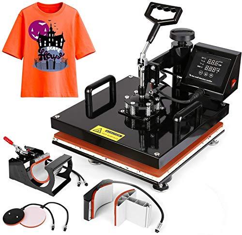 15'x15' TUSY Heat Press Machine Pro 5 in 1 Heat Transfer Press Machine Swing Away 360 Degree Rotation Digital Industrial Sublimation for T-Shirt/Hat/Mug/Plate