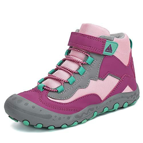 Mishansha Kids Outdoor Hiking Boots Girls Ankle Booties Trekking Walking Shoes, A-Purple 8.5 Toddler