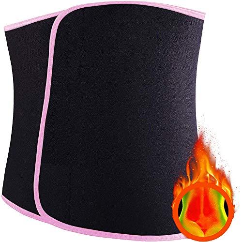 VanStart Waist Trimmer Belt-Waist Trainer for Women and Men Sport Sweat Workout Slimming Body Shaper Sauna Exercise for Stomach and Back Lumbar Support (Pink, Med:8'' Width x 41'' Length)