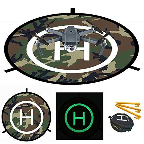 ApexOne Camo Luminous Drones Landing Pad 73.5cm/29'', Universal Waterproof Foldable Landing Pad Helipad for RC Drones Helicopter, PVB Drones, DJI Mavic Air Pro Phantom 2/3/4/Pro, Antel Robotic