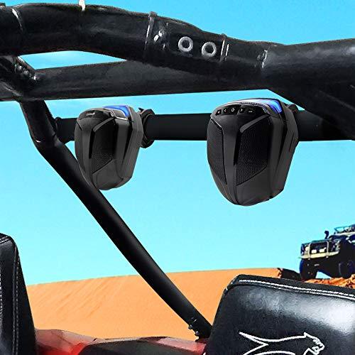 GoHawk ATN4 All-in-One Built-in Amplifier 5' Full Range Waterproof Bluetooth ATV RZR UTV Stereo Speakers Audio Amp System,1.5 to 2' Roll-cage Bar Mount Yamaha Polaris 4 Wheeler Can-Am, FM Radio & USB