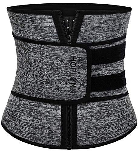 HOPLYNN Neoprene Sweat Waist Trainer Corset Trimmer Belt for Women Weight Loss, Waist Cincher Shaper Slimmer Grey XXX-Large 02