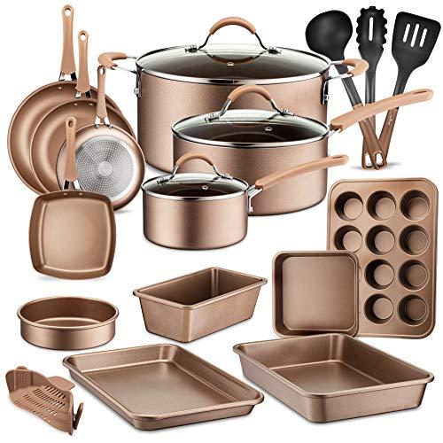 20-Piece Nonstick Kitchen Cookware Set - PTFE/PFOA/PFOS-Free Heat Resistant Lacquer Kitchen Ware Pots Baking Pan Set w/Saucepan, Frying Pans, Cooking Pots, Oven Pot, Lids, Utensil - NutriChef