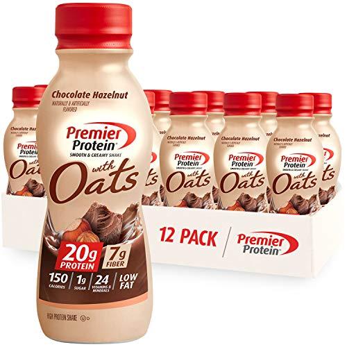 Premier Protein Shake with Oats, Chocolate Hazelnut, 20g Protein, 7g Fiber, 1g Sugar, 24 Vitamins & Minerals, Smooth & Creamy Breakfast Drink 11.5 fl oz, 12 Pack