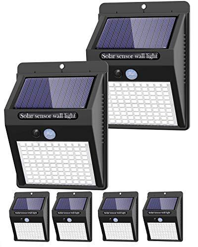 6 Pack Solar Lights Outdoor, 3 Modes/100LED Solar Security Lights Wireless IP65 Waterproof Solar Motion Lights Outdoor Solar Wall Lights Outdoor Lights for Front Door, Backyard, Garage, Deck…