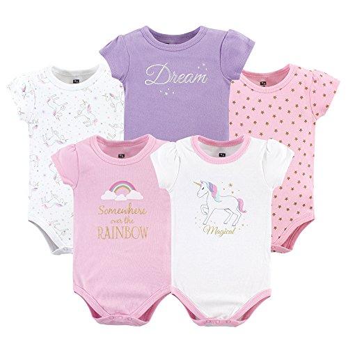 Hudson Baby Unisex Cotton Bodysuits, Magical Unicorn, 0-3 Months