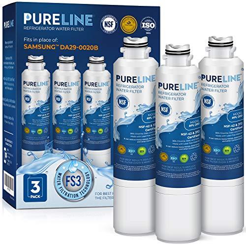 Pureline DA29-00020B Water Filter Replacement. Compatible with Samsung DA29-00020B-1, DA29-00020B, Haf-Cin Exp, RF4267HARS, RF28HMEDBSR, RF28HFEDBSR, & More Models (3 Pack)