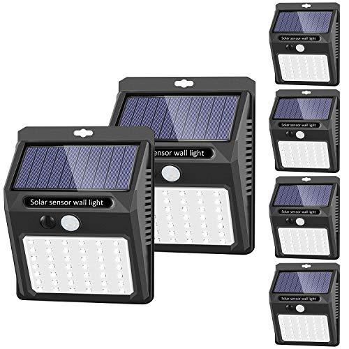 Solar Lights Outdoor [6 Pack/3 Working Mode], SEZAC Solar Security Lights Solar Motion Sensor Lights Wireless IP 65 Waterproof Outdoor Lights for Garden Fence Patio Garage (42 LED)