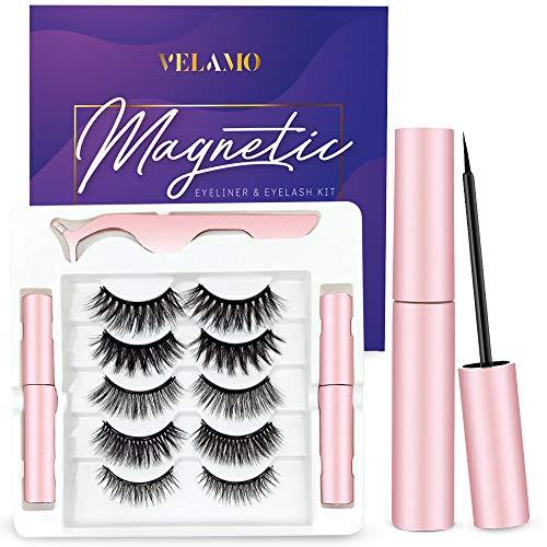 Magnetic Eyeliner and Lashes Kit, Magnetic Eyeliner and Multi Styles Lashes, Reusable Natural Magnetic False Eyelashes, 5 Pairs