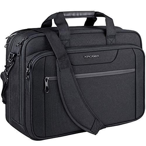 KROSER Laptop Bag Expandable Laptop Briefcase Fits Up to 17.3 Inch Laptop Water-Repellent Shoulder Messenger Bag Computer Bag for Travel/Business/School/Men/Women-Black