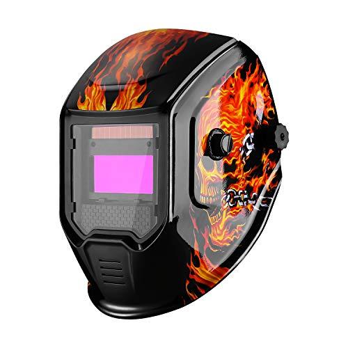 DEKOPRO Welding Helmet Solar Powered Auto Darkening Weld Hood Wide Shade 4/9-13 for TIG MIG ARC Welder Mask