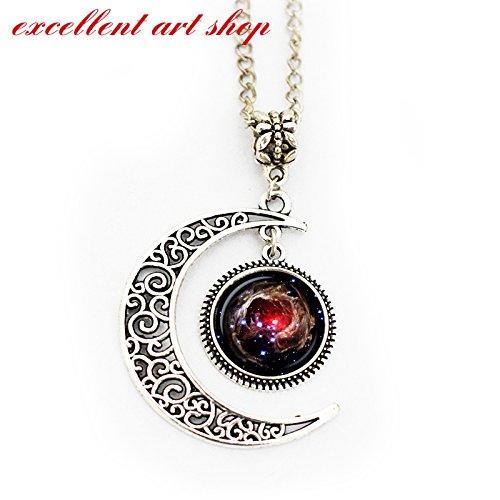 Astronomy Pendant Necklace - Moon Pendant Helix Nebula, Cosmic Jewelry - Galaxy Pendant Series