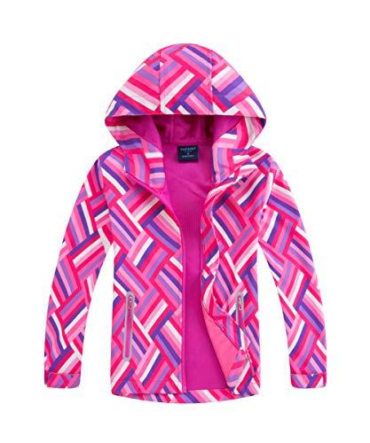 M2C Girls Hooded Waterproof Rain Jacket Windproof Raincoat 6/7 Pink