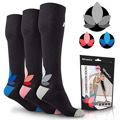 POWERLIX Compression Socks for Women & Men (Pair) 20-30 mmHg, Medical Knee High Support Stockings for Pregnancy, Maternity, Nurse, Diabetic, Travel, Flying, Running & More