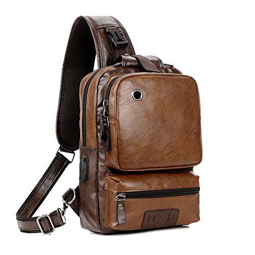 Men Vintage PU Leather Cross Body Sling Bag Backpack Large Capacity Office Travel Backpack USB Charge(brown)