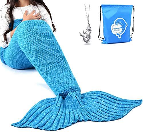 LAGHCAT Mermaid Tail Blanket Crochet Mermaid Blanket for Adult, Soft All Seasons Sleeping Blankets, Classic Pattern (71'x35.5', Blue)