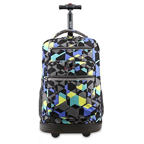 J World New York Sundance Rolling Backpack Girl Boy Roller Bookbag, Cubes, One Size
