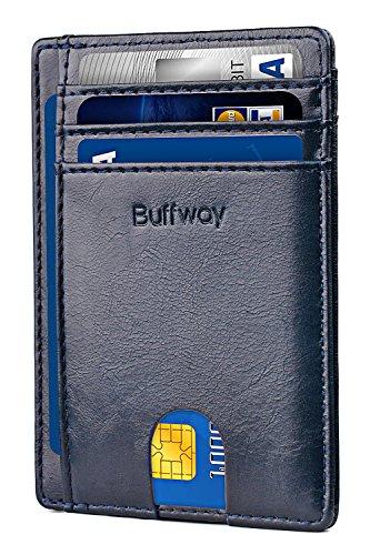 Buffway Slim Minimalist Front Pocket RFID Blocking Leather Wallets for Men Women - Alaska Blue