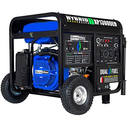 DuroMax XP13000EH 13000-Watt 20 HP Portable Dual Fuel Electric Start Generator, Blue/Gray