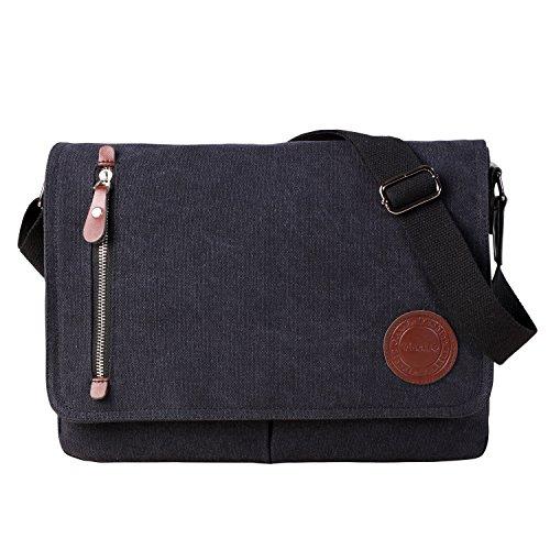 Vintage Canvas Satchel Messenger Bag for Men Women,Travel Shoulder bag 13.5' Laptop Bags Bookbag (Black)