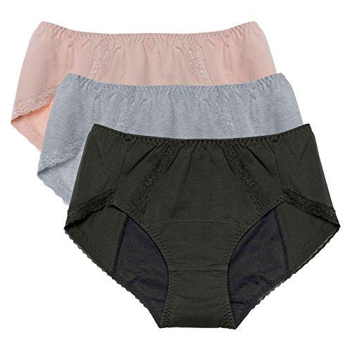 Intimate Portal Women Tweens Leak Proof Briefs Period Menstruation Panties 3 Pack Gray Black Beige XL