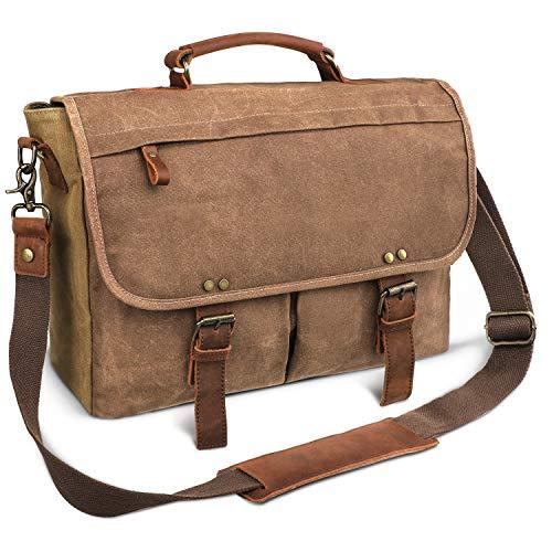 emissary Laptop Messenger Bag (15.6'' Computer Bag) Canvas and Leather Shoulder Briefcase (Brown 15.6'' Laptop Bag)