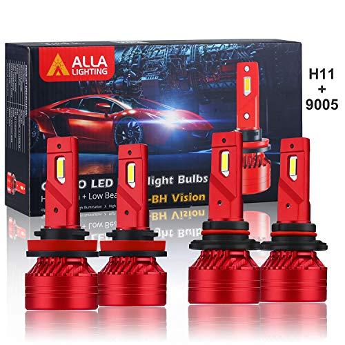 Alla Lighting HB3 9005 High Beam H9 H11 Low Beam LED Headlights Bulbs Combo 9005 H11 Conversion Kits LED Upgrade