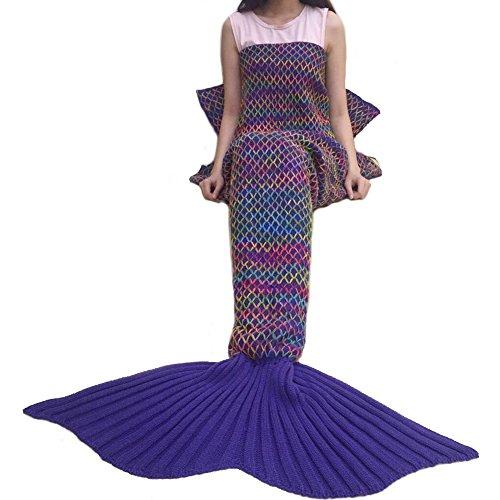 CAMMITEVER Crochet Knitted Mermaid Tail Blanket Super Soft All Season Sleeping Bag for Girls Adults Teens Women Baby Girl Gift (Purple)