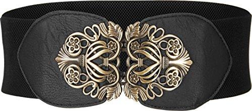 BlackButterfly 3 Inch Wide Waspie Elastic Vintage Buckle Waist Belt (Black, US 6-8)