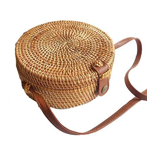 Womens Weave Circle Bags,Retro Handwoven Round Rattan Bags Straw Natural Chic Handbags Shoulder Bags (Khaki, 1PC)