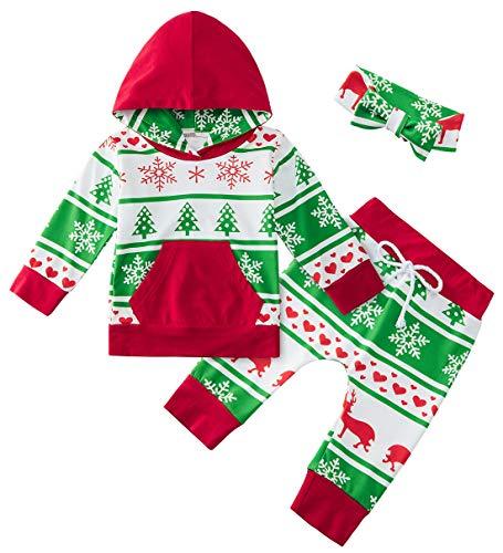 UNIFACO Little Girl Boy Long Sleeve Christmas Tree Green Hoodie Tops and Pants Snowfflake Santa Print Outfit with Pocket Headband