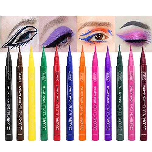 12 Colors Matte Liquid Eyeliner Set, Waterproof Superstay Long Lasting Matte Eye Liner Pencil by Rechoo (12 Rainbow Colors)