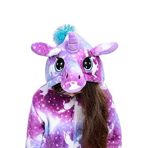 Uniquecos Kids Fleece Unicorn Onesie Pajamas Christmas Halloween Animal Cosplay Sleepwear Costume(Lhxk 4 Year85#) Bright Yellow