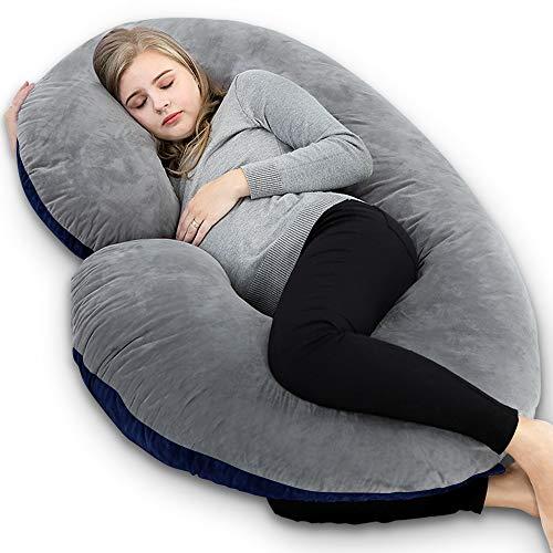 INSEN Pregnancy Pillow,Maternity Body Pillow with Velvet Cover,C Shaped Body Pillow for Pregnant Women