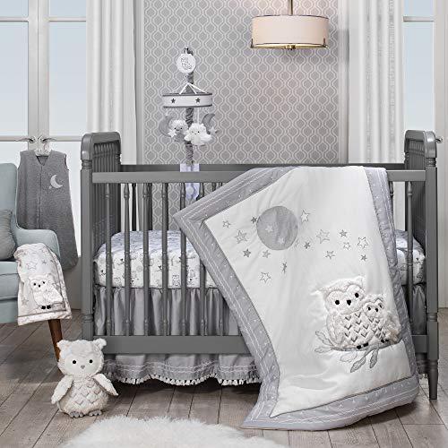 Lambs & Ivy Luna White/Gray Celestial Owl 4-Piece Nursery Baby Crib Bedding Set