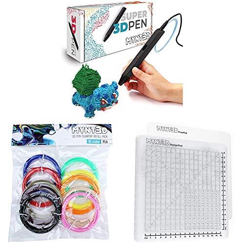 MYNT3D Super 3D Pen + 10 Color PLA Filament + DesignPad Mat Kit