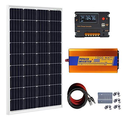 ECO-WORTHY 120 Watt Solar Panel kit: 12V 120W Solar Panels Kit + 20A Charge Controller + 1000W Power Inverter for Off-Grid 12 Volt Battery System