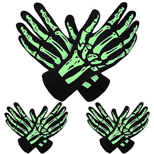 Cooraby 3 Pairs Glow in the Dark Full Finger Skeleton Gloves Halloween Skull Bone Gloves