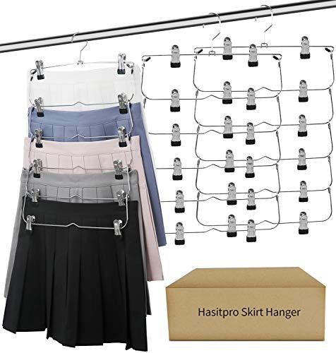 Hasitpro 6-Tier Skirt Pants Shorts Hangers with Adjustable Clips Space Saving No Slip Hangers Skirt Organizer 3 Pack