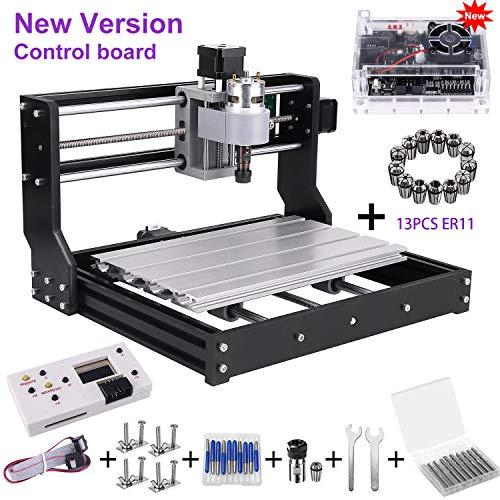 Upgrade Version CNC 3018 Pro GRBL Control DIY Mini CNC Machine, Wood Router Engraver with Offline Controller + 5mm ER11 PCB +20PCS 3.175MM CNC Router Bits + 4 Sets CNC Plates+ 13 Pcs ER11 Collet Set