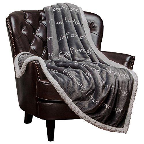 Chanasya Warm Hugs Positive Energy Healing Thoughts Super Soft Plus Fleece Sherpa Microfiber Comfort Caring Gray Gift Throw Blanket - Get Well Soon Gift for Women Men Cancer Patient - Gray Blanket