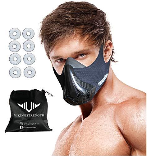 Vikingstrength 3. Generation VO2 Training Workout Mask for Running Biking MMA Endurance with Adjustable Resistance, High Altitude Elevation Mask for Air Resistance Training