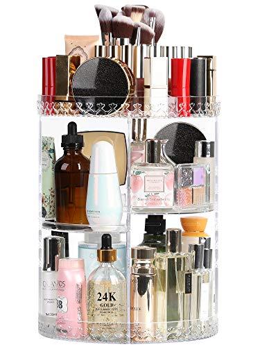 Syntus Rotating Makeup Organizer, 360 Adjustable Cosmetic Carousel Spinning Holder Rack, Large Capacity Makeup Storage Box Vanity Shelf Countertop for Bathroom, Lipsticks, Brushes