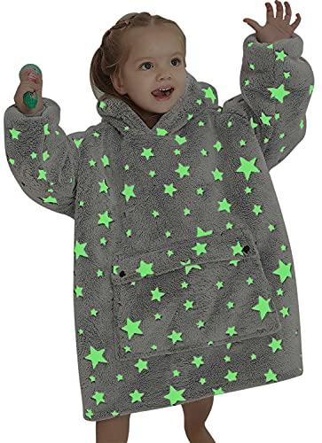 Wearable Blanket Hoodie for Kids Toddlers 2-6YR Sherpa Blanket Sweatshirt with Pocket Little Girls Boys